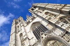 St Michael och domkyrka för St. Gudula i Bryssel Arkivbild