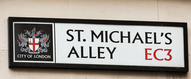 St Michael`s Alley Street Sign in London. Street Sign in the City of London Stock Image