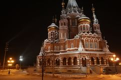 St. Michael`s Cathedral. Winter night with night lights Stock Image