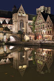 St. Michael's church and bridge at night. Ghent, Belgium. Royalty Free Stock Photo