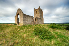 St Michael`s Church on Burrow Mump in Somerset. The ruins of St Michael`s Church on the top of Burrow Mump in the Somerset countryside royalty free stock photography