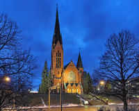 St. Michael`s Church in Turku in night, Finland Stock Photo