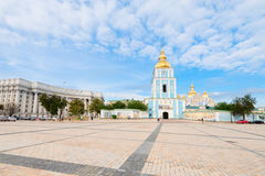 St. Michael's Golden Domed Cathedral square in Kiev, Ukraine Stock Images