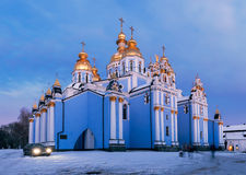 St. Michael's Golden-Domed Monastery in the evening Stock Photos