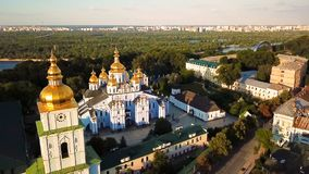 St. Michael`s Golden-Domed Monastery in Kiev Ukraine. View from above. aerial video footage from drone. the camera comes stock video footage