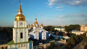 St. Michael`s Golden-Domed Monastery in Kiev Ukraine. View from above. aerial video footage from drone. Panaramic view to the city stock footage