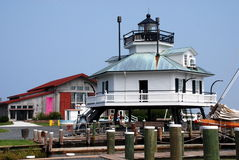 St. Michael's, MD: Hooper Strait Lighthouse. The 1879 octagonal screwpile Hooper Strait lighthouse at the superb Chesapeake Bay Maritime Museum in St. Michael's Stock Images