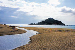 St Michael`s Mount against sunset near Penzance in Cornwall Stock Image