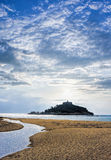 St Michael`s Mount against sunset near Penzance in Cornwall Royalty Free Stock Photo