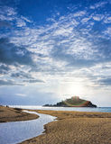 St Michael`s Mount against sunset near Penzance in Cornwall Stock Photos
