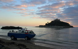St Michael`s Mount Castle Island Sunset with ferry in Cornwall Stock Images