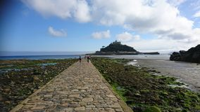 St Michael`s mount causeway stock photography