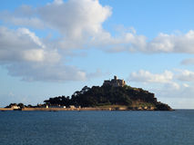 St Michael's Mount Cornwall. The iconic St. Michael's Mount in Mounts Bay taken from the beach at Marazion Royalty Free Stock Photos