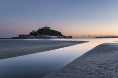 St Michael's Mount in Cornwall. Dusk at St Michael's Mount off the shore at Marazion near Penzance in Cornwall Royalty Free Stock Photo