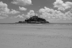 St Michael's Mount, Cornwall, England. The famous St Michael's Mount with the tide out royalty free stock image