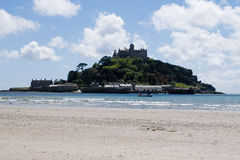 St Michael's Mount, Cornwall, England. The famous St Michael's Mount with the tide out stock photography