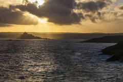 St Michael's Mount. Landscape view of St Michael's Mount, Cornwall at sunset Royalty Free Stock Photo