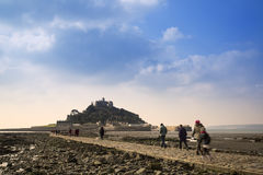 St Michael's Mount from Marazion Cornwall England. Landscape of Path revealed at low tide to St Michael's Mount from Marazion Cornwall England Royalty Free Stock Photos