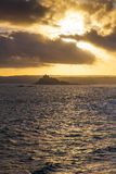 St Michael's Mount. Portrait view of St Michael's Mount, Cornwall at sunset stock photography