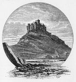 St Michael`s Mount. Cornish: Karrek Loos yn Koos, a tidal island 366 metres off the Mount`s Bay coast of Cornwall, England, United Kingdom; engraving from Royalty Free Illustration