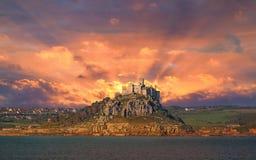 St Michael`s Mount sunrise. St Michael`s Mount, Marazion, near Penzance in Cornwall UK Stock Photos