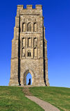 St Michael's Tower with medieval lady silhouette at Glastonbury Tor, Somerset, England, United Kingdom. (UK Stock Photo