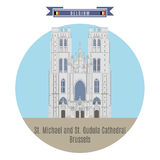 St. Michael and St. Gudula Cathedral, Brussels, Belgium. Famous Places in Belgium: St. Michael and St. Gudula Cathedral, Brussels Royalty Free Stock Photo