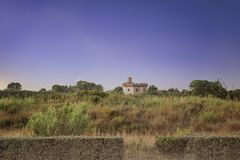 St Michael torn, Rome, lantlig landskapsikt för ina arkivfoto