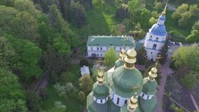 St. Michael Vydubitsky male monastery. Flying on copter over the church. stock footage