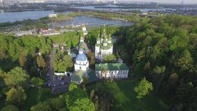 St. Michael Vydubitsky male monastery. Flying on copter over the church. stock video