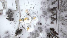 St Michael Vydubitsky mannelijk klooster in Kiev, de Oekraïne Het vliegen op helikopter over de kerk tegen de achtergrond van Royalty-vrije Stock Fotografie