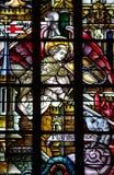 St Michael walczący zło (anioł) (witraż) Fotografia Royalty Free