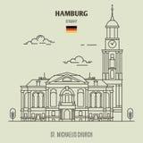 St Michaelis教会在汉堡,德国 地标象 向量例证