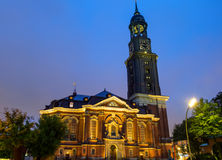 The St. Michaelis church at night Stock Image
