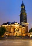 St. Michaelis in Hamburg at night Stock Photos