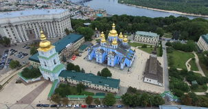 St. Michaels Cathedral, Ministry of Foreign Affairs of Kyiv cityscape river Dnipro stock video