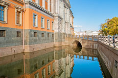 St Michaels or Engineer castle in Saint Petersburg,Russia reflecting in the water in autumn sunny day Stock Photos