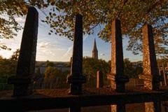 St Michaels Kościelna iglica widzieć od Exeter centrum miasta fotografia royalty free