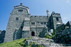St. Michaels Mount. The castle St. Michael's Mount is situated on the top of an granitic-rock near Penzance, Cornwall, England Stock Photo