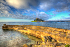 St Michaels Mount Cornwall England UK cloudscape medieval castle and church in colourful HDR Stock Photography
