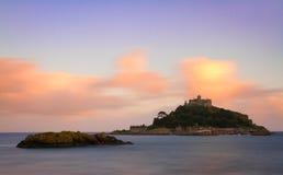 St. Michaels Mount at dusk, Cornwall, England. UK Royalty Free Stock Images