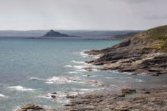 St Michaels mount looking past perranuthnoe Royalty Free Stock Images
