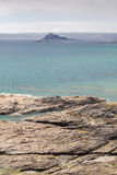 St Michaels mount looking past perranuthnoe Stock Photography