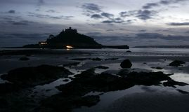St Michaels mount at night Royalty Free Stock Photo