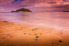 St Michaels Mount på solnedgången Royaltyfria Foton