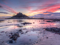 St Michaels Mount Sunset Royalty Free Stock Photos