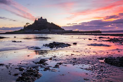 St Michaels Mount Sunset Royalty Free Stock Images