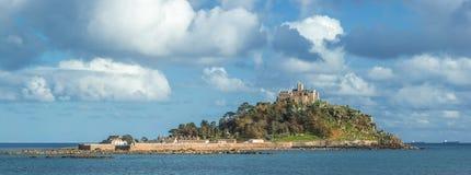 St Michaels Mount, zet Baai, Cornwall op royalty-vrije stock afbeeldingen