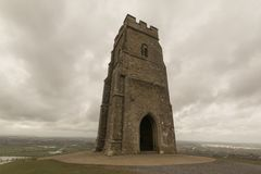 St Michaels Tower, Glastonbury Tor. St Michaels Tower sits on top of Glastonbury Tor in Somerset Stock Image