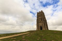On the top of Glastonbury Tor. St Michaels Tower sits on top of Glastonbury Tor in Somerset Stock Photos
